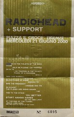 Radiohead, piazza Santa Croce, Firenze, 2000 (costanza.baldini) Tags: ticket radiohead