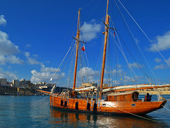 Schooner (albireo2006) Tags: wood blue sea wallpaper water harbor boat mediterranean sailing harbour yacht background malta schooner valletta sailingboat grandharbour sailingyacht v18 kalkara kalkaracreek valletta2018