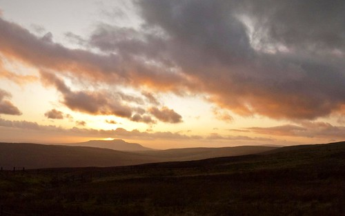 Sun setting behind Ingleborough.