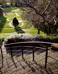 Descend into the Gardens, Chester (DizDiz) Tags: uk shadow england topiary cheshire stones steps chester metalrailings brickpaving olympusc720uz countytown