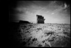 You Can Have Dinner in the Desert (inwildness) Tags: city blackandwhite bw lake film island utah diy oven kodak handmade great salt lofi floating lo pinhole anderson homemade stove fi matchbox doityourself bw400cn jaechon