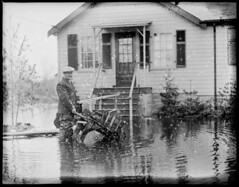 Man with wheelbarrow in flooded yard, New England flood (Boston Public Library) Tags: weather storms floods lesliejones