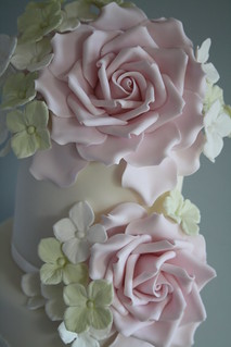 Rose & Hydrangea cake by Cotton and Crumbs