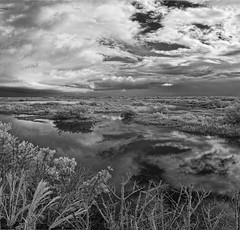 It was a little cloudy this morning (Ed Rosack) Tags: blackandwhite bw usa cloud storm reflection water landscape florida infrared marsh titusville merrittislandnationalwildliferefuge