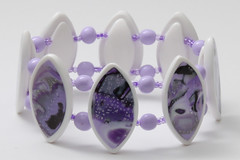 Mokume gane bracelet (Fimoli) Tags: pink white armband rose purple violet fimo clay bracelet wit weiss blanc violett roze paars polymer gane mokume armreif polymeerklei