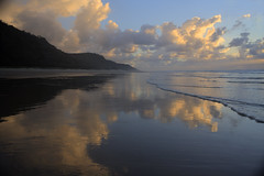 Some people never go crazy. What truly horrible lives they must lead. (Aristocrats-hat) Tags: morning light beach wet island sand waves australia hills queensland fraser washing refections