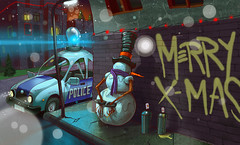 Merry Xmas! (Fat Heat .hu) Tags: light snow car illustration pig snowman police ps wacom merryxmas