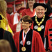 Chancellor Randy Woodson smiles as he enters the RBC Center for the 2011 winter commencement.