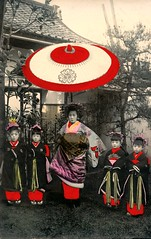 Tayuu and four Kamuro 1905 (Blue Ruin 1) Tags: trees japan children outside japanese kyoto lawn colored kimono obi tinted paperumbrella miyake shimabara kanzashi meijiperiod oiran tayu tayuu bangasa kamuro handcolouredpostcard japanesecourtesan childattendant