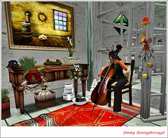 Cello (Emerald Beningborough) Tags: xmas advent candle sl wreath secondlife cello hunt halltable sways carlottaceawlin swaydench yshouse dreamscapesdecor