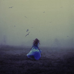 chasing childhood (brookeshaden) Tags: selfportrait storm field birds fog dark chaos earlymorning unknown ghostly fineartphotography brookeshaden texturebylesbrumes