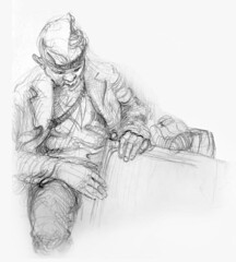 Snoozing (artsentinel) Tags: sketchbookdrawings subwaysketches urbansketcher subwaysketcher keithgunderson subwaysketchers
