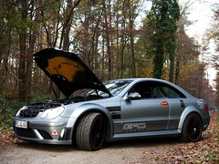 GAD's masterpiece. (Niklas Emmerich Photography) Tags: christmas family black me nature car forest germany gold one for this hp october december you year ps best 63 motors your illegal merry powerful supercar schwarz 900 gad amg clk ruhrpott 2011 stadtlohn serier worldcars mattgrau