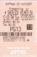 2011-12-25 - Sherlock Holmes - Game of Shadows (normally) Tags: movie december sherlockholmes ticketstub 2011 gameofshadows