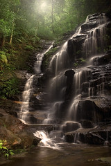 Sylvia Falls - Valley Of The Waters (rhyspope) Tags: longexposure light plant fern green fall wet water pool beautiful rock creek river waterfall bush woods rainforest stream australia bluemountains tourist falls wentworth nsw newsouthwales bushwalk scrub sylvia sylviafalls rhyspope