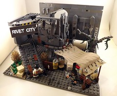 Rivet City Caravan stop Fallout 3 (main pic) (Cyborgpotato) Tags: city 3 tree contest guard halo stop armor pistol guns p vendor caravan doodads fallout rivet 10mm chuff brahmen