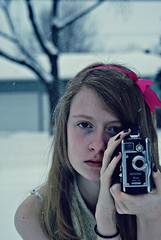 Snow (Abby Kroke) Tags: lighting camera pink blue winter light portrait people snow cinema cold eye face vintage hair person video eyes hands pretty hand sony nail lips nails videocamera lip ribbon snowing keystone cinematography tones tone a230 camerasold