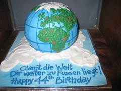 3D Globe on clouds shaped cake (Charly's Bakery) Tags: cake town tv shaped chocolate novelty cupcake angels bakery reality cape kiddies charlys noveltycake january2010