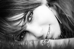 Karin (Norbert Krlik) Tags: portrait bw eye girl smile outdoor karin canoneos5d canonef100mmf28macrousm