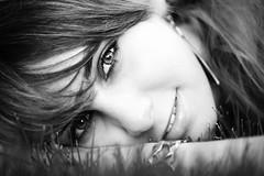 Karin (Norbert Králik) Tags: portrait bw eye girl smile outdoor karin canoneos5d canonef100mmf28macrousm