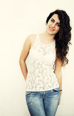 (MerceSoriano) Tags: blue light portrait white eye me girl smile photoshop chica retrato yo clear curly