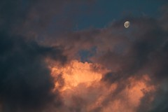 Floating moon (Geoff Main) Tags: sunset moon clouds australia act conder canonef100400f4556lisusm canon7d