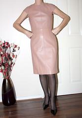 pink leather dress (sheerglamour) Tags: fetish belt tv skirt rubber heels latex satin wiggle hobble