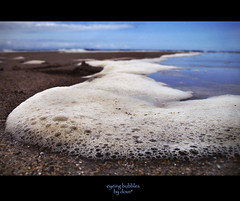 eyeing bubbles (Dove*) Tags: blue sea sky seascape beach sand bubbles troth naturescene waveonshore seabubbles