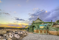 Earthship (Phoenix) - North-West of Taos, New Mexico (Mister Joe) Tags: nm earthship greaterworldearthshipcommunity taos newmexico desert environmental phoenix selfsustaining tires recycled solarpowered natural offthegrid house building rainwater greenhouse sangredecristo mountains sunset dynamicrange hdr nikon joe