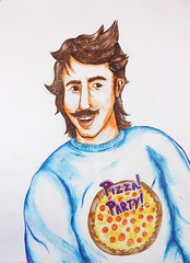 Pizza! Party! Portrait! (Drew Albinson Creative) Tags: portrait man color guy illustration youth ink drawing fine arts young dude 80s marker sharpie bro mustache 1980 bros gesso