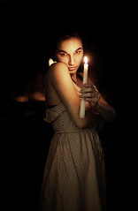 (alexis mire) Tags: light orange selfportrait dark lights warm candle bokeh selfportraittherapy alexismire