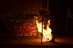 Tree on Fire (Michael Kappel) Tags: sanfrancisco california ca fire graffiti san francisco flames arson firing pyromania treeonfire sanfranciscograffiti burningtree torching incendiarism settingfire burningchristmastree christmastreeonfire