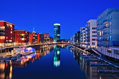 Blue Reflections (Philipp Klinger Photography) Tags: longexposure bridge blue light shadow red orange sun reflection tower water glass lines architecture modern triangles skyscraper canon reflections river germany boats deutschland lights mirror pier boat am triangle long exposure sailing shadows hessen slow geometry frankfurt main line hour slowshutter shutter sail bluehour fluss philipp spiegelung modernarchitecture westhafen westhafentower frankfurtammain frankfurter hightower hesse langzeitbelichtung sailingboat botschaft klinger canon1740l canon1740mmf4l gerippte flus lzb canon1740mml dergerippte 5dmarkii 5dmkii 5dmk2 5dmark2
