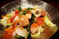 Seafood Salad @ Zakkushi on Main () Tags: food fish canada vancouver dinner japanese salad bc shrimp gourmet japaneserestaurant seafood japanesefood zakkushi japanesecuisine seafoodsalad zakkushionmain olympusxz1