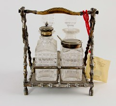 11. Silverplate Faux Bamboo Cruet Set