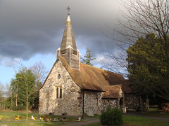 St. Mary's Church, Wexham (Abaraphobia) Tags: uk england church parish britain buckinghamshire headstones graves norman christian churchyard tombstones slough berkshire stmaryschurch protestant 12thcentury churchroad wexham