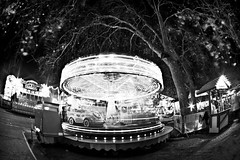 Snowing Leaves, (Winter Wonderland Carousel), Hyde Park (flatworldsedge) Tags: park christmas longexposure winter london ride fairground spin carousel fisheye hyde wonderland zenitar starburst uwa