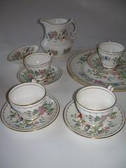 china flowers england english cup birds pattern dish tea dishes teacup creamer saucer teaset gilt eighteenth pembrooke eighteenthcentury tablewear bonechinaanysley