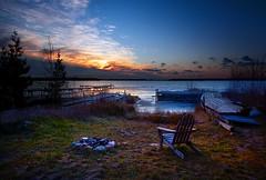 Peaceful Sunset by the Lake (Edgar Anderson) Tags: sunset red sky orange cloud lake ice yellow wisconsin landscape pier frozen dusk hdr doorcounty washingtonisland oldplanks edgaranderson