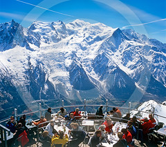 Restaurant At the Top Of Le Brevant Chamonix France (Roger Cracknell Photography) Tags: travel vacation people mountain holiday snow mountains cold tourism sport restaurant cafe skiing view top altitude traditional alpine destination recreation atmospheric touristattraction montblanc attraction tablesandchairs scienic chamonixfrance lebrevant skidestination