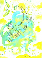 Trust Me (Chaostrich) Tags: illustration ink cat watercolor hawaii oahu maui doodle crocodile hi fecalface nothingisreal alexkahalehili chaostrich