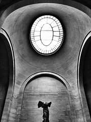 Winged Victory of Samothrace (Oliver Degabriele) Tags: sculpture france art window louvre space victory negative winged samothrace