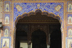 Beautiful archway at Castle Mandawa (Saumil U. Shah) Tags: door travel india house color colour building castle art heritage tourism monument colors painting hotel mural colorful asia arch colours indian decoration tourist mansion colourful archway tradition ornate fresco rajasthan shah haveli mandawa  saumil jhunjhunu  shekhawati incredibleindia  castlemandawa saumilshah