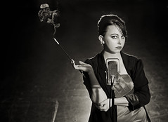 Vaudville (isaacwhite) Tags: woman radio theater cigarette cig lust mic allure vaudville ribbonmic