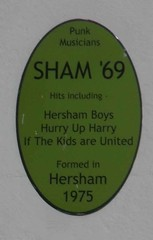 Photo of Sham '69 green plaque