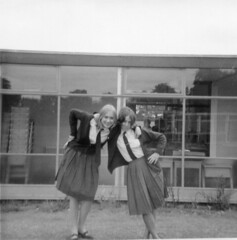 School Days - Early 1960s (TempusVolat) Tags: old school windows girls blackandwhite building film roy girl modern female vintage ties square interesting scans 60s uniform flickr dad mr image scanner pat father mother picture tie skirt scan mum squareformat scanned getty epson format 1960s swinging scanning gw patricia leaning gareth sixties perfection mumdad skirts tempus v200 morodo epsonscanner swingingsixties 60sfashion sixtiesfashion photoscanner epsonperfection epsonv200 volat mrmorodo garethwonfor susanolney tempusvolat