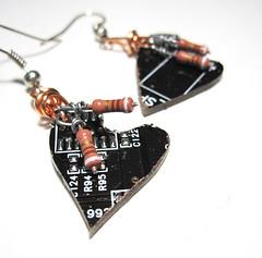 Circuit Board Earrings Heart Dark Chocolate Computer Jewelry Valentines Geek Love (Clone Hardware) Tags: hearts circuitboard computerparts