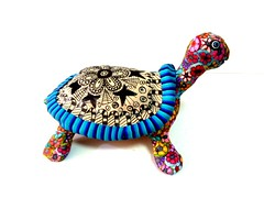 turtle with pinkitangle (**mira pinki krispil-colors of life ***) Tags: sculpture art handmade turtle fimo clay polymer