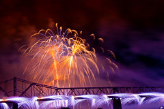 Thunder 2016 #2 (indykaleu) Tags: longexposure bridge blue red urban orange white color colors yellow night canon eos colorful fireworks kentucky tripod sigma indiana nighttime april louisville thunder manfrotto 30d thunderoverlouisville kentuckyderbyfestival longexposures 2016 canoneos30d 1750mm sigma1750mmf28 175mmf28 indykaleu