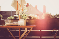 Perfect light on balcony (thethomsn) Tags: wood city light summer urban plants sun home backlight germany table dessert bavaria living wooden spring chair perfect dof bright balcony decoration strawberries sunshade lensflare flare sigma30mm14 thethomsn